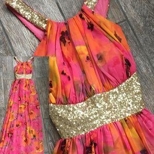 Women's Floral Sequin Halter Gown